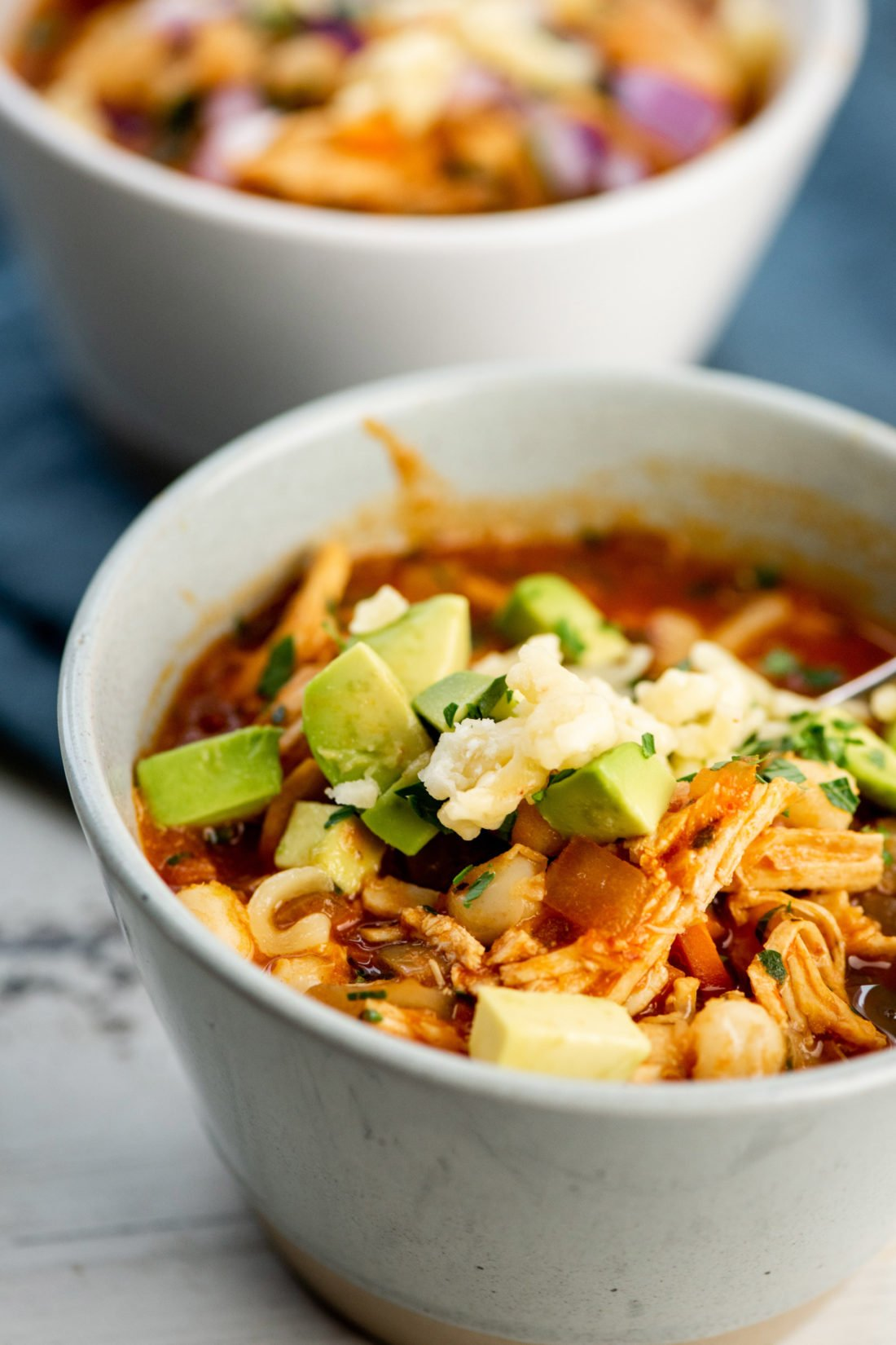 close up of Turkey Posole Soup