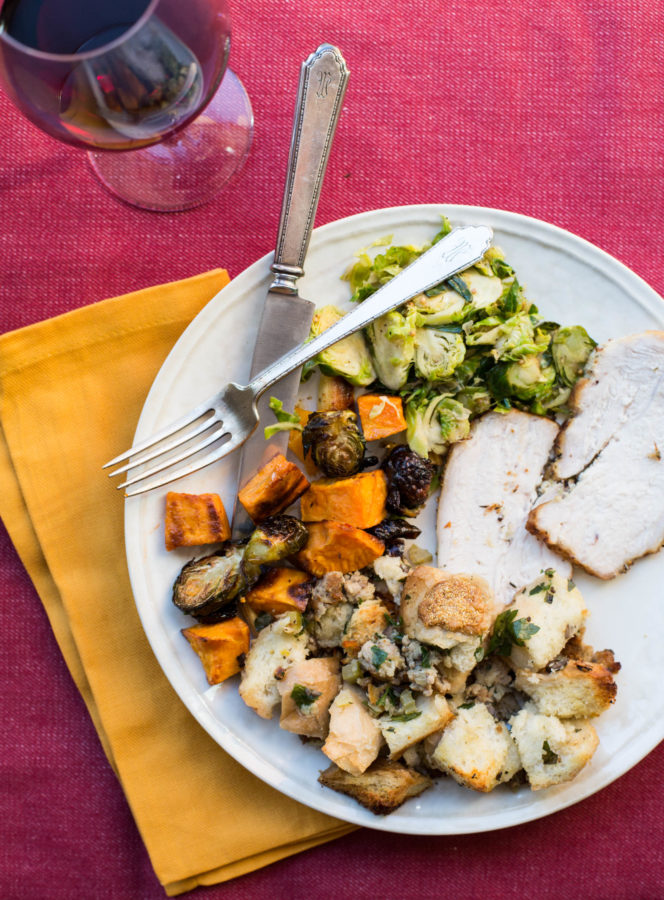 Thanksgiving Plate with Bread Stuffing with Turkey Sausage