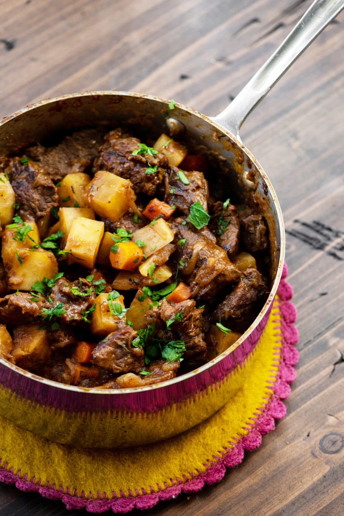 Apple Cider Beef Stew in a small pot