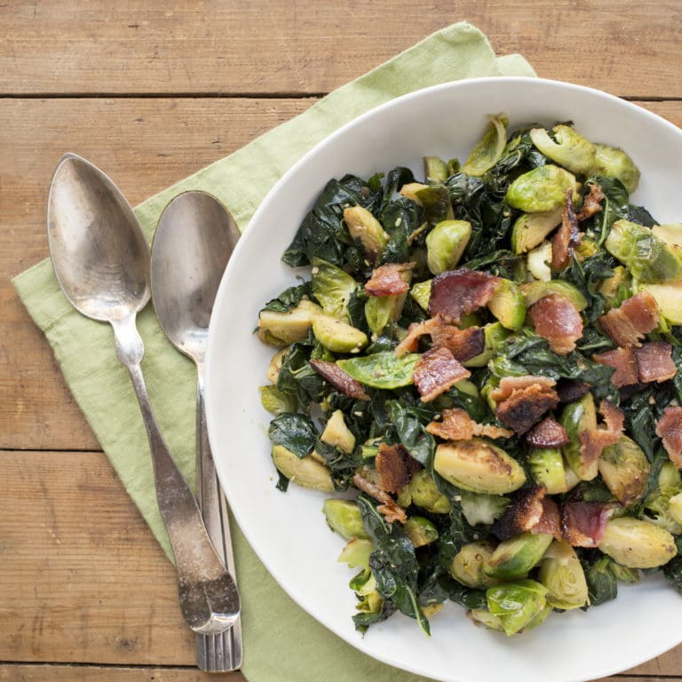 Sauteed Kale and Brussels Sprouts with Bacon / Lucy Beni / Katie Workman / themom100.com