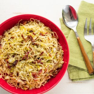 Five Ingredient Pasta #1: Thin Spaghetti with Fennel, Bacon and Parmesan / Katie Workman / themom100.com / Photo by Cheyenne Cohen