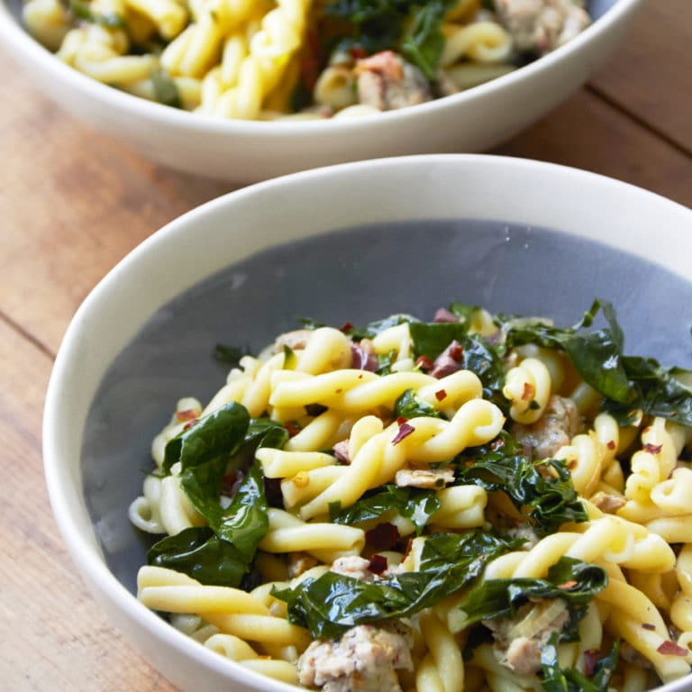 5-Ingredient Pasta: Campanelle with Chicken Sausage, Kale and Olives / Mia / Katie Workman / themom100.com