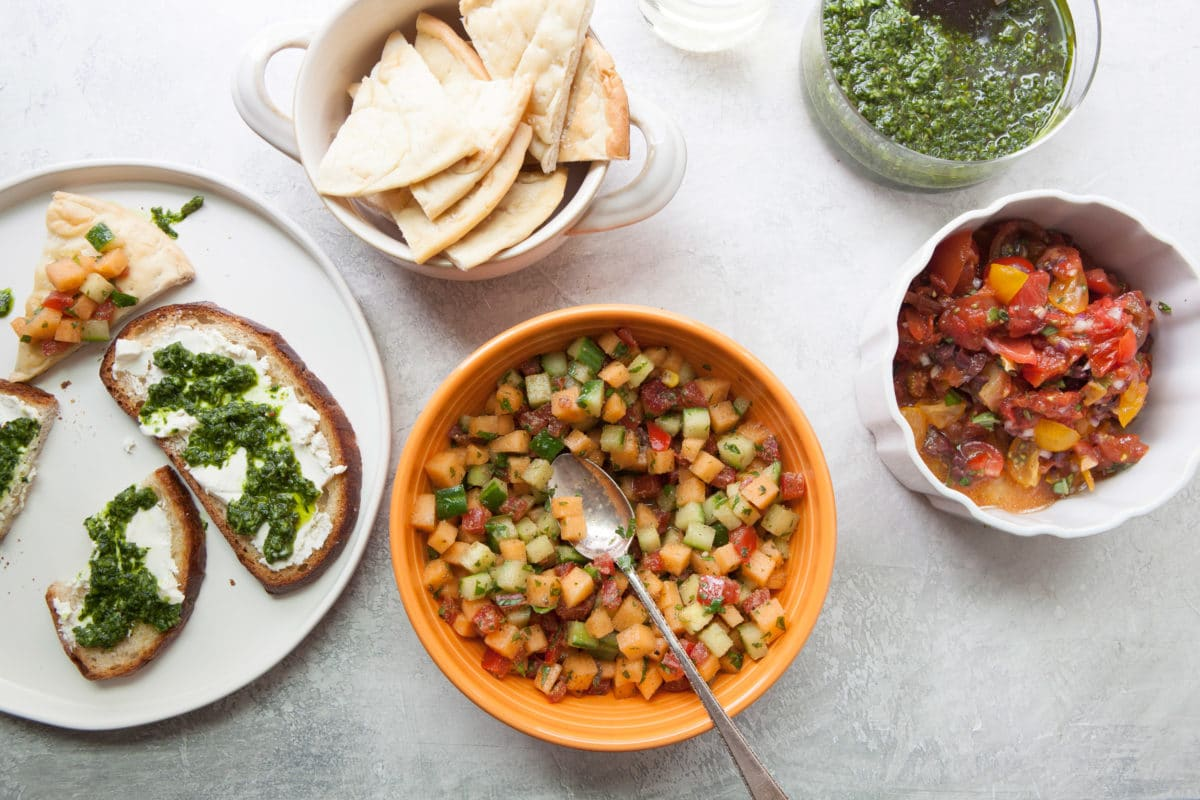 Herbed Roasted and Raw Tomato Salsa with Olives / Photo by Kerri Brewer / Katie Workman / themom100.com