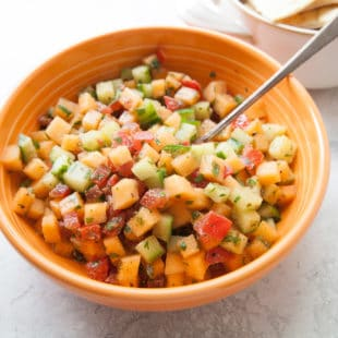 Corn, Cucumber and Cantaloupe Salsa / Photo by Kerri Brewer / Katie Workman / themom100.com