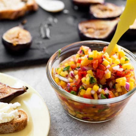 Peach and Roasted Red Pepper Salsa / Katie Workman / themom100.com / Photo by Cheyenne Cohen