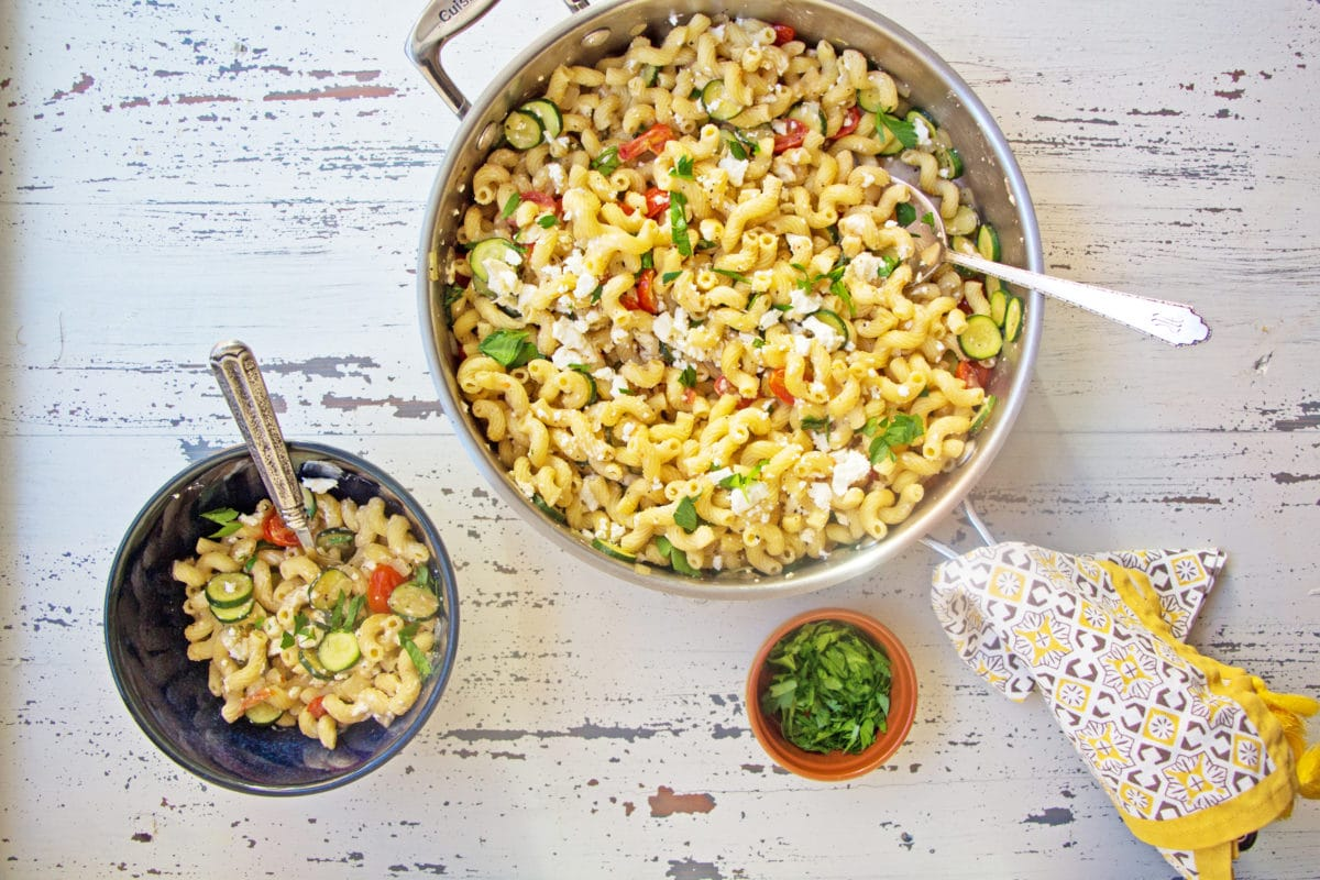 5 Ingredient Pasta #4: Whole Grain Penne with Zucchini, Tomato and Feta / Mandy Maxwell / Katie Workman / themom100.com