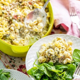 Spinach Goat Cheese Baked Pasta with Sunflower Seeds / Katie Workman / themom100.com / Photo by Cheyenne Cohen