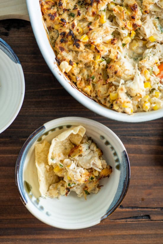 Hot Crab and Corn Dip / Katie Workman / themom100.com / Photo by Cheyenne Cohen