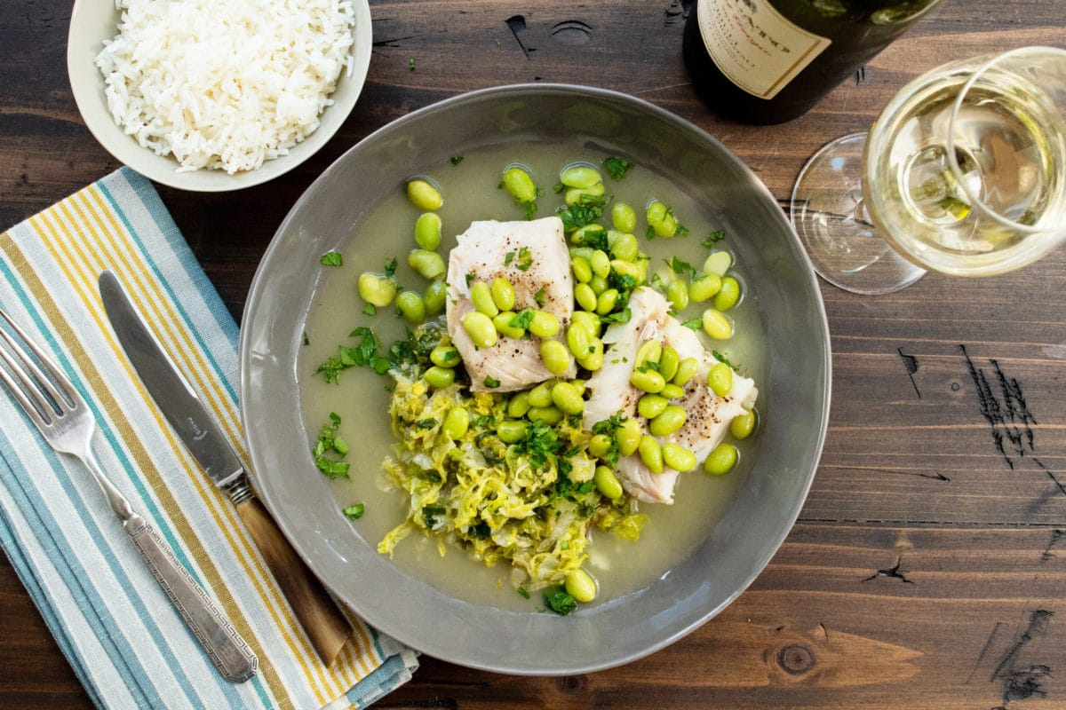One Pot Cod, Cabbage and Edamame / Katie Workman / themom100.com / Photo by Cheyenne Cohen