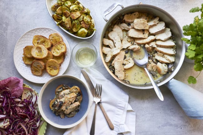 Chicken with Mushrooms in Cream Sauce / Mia / Katie Workman / themom100.com