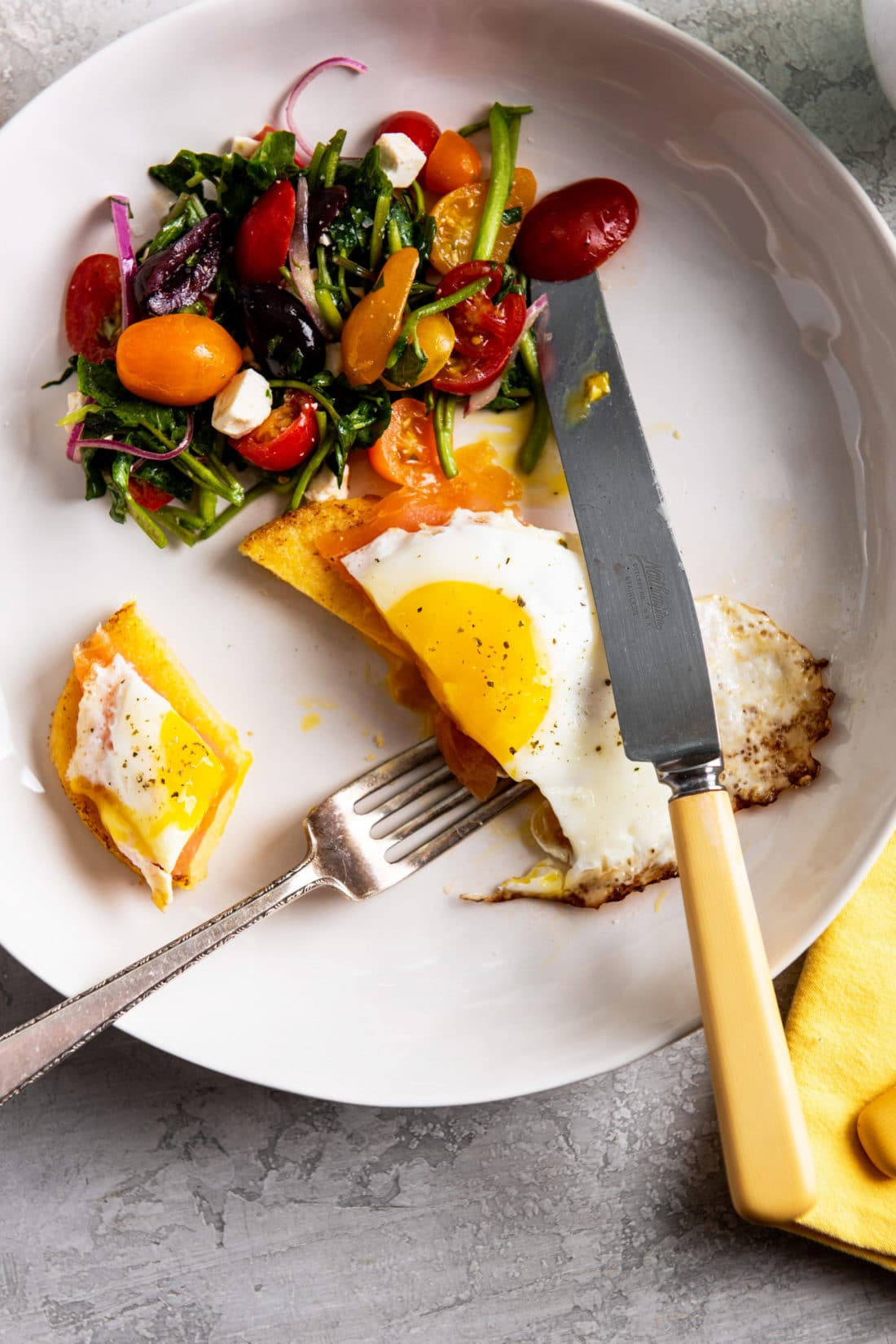 Fried Eggs and Smoked Salmon over Polenta Cakes