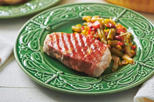 Grilled Prosciutto Wrapped Pork Chops