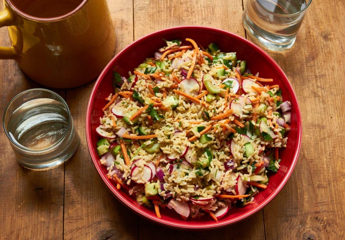 Vegetable and Brown Rice Salad with Honey Lemon Dressing / Mia / Katie Workman / themom100.com