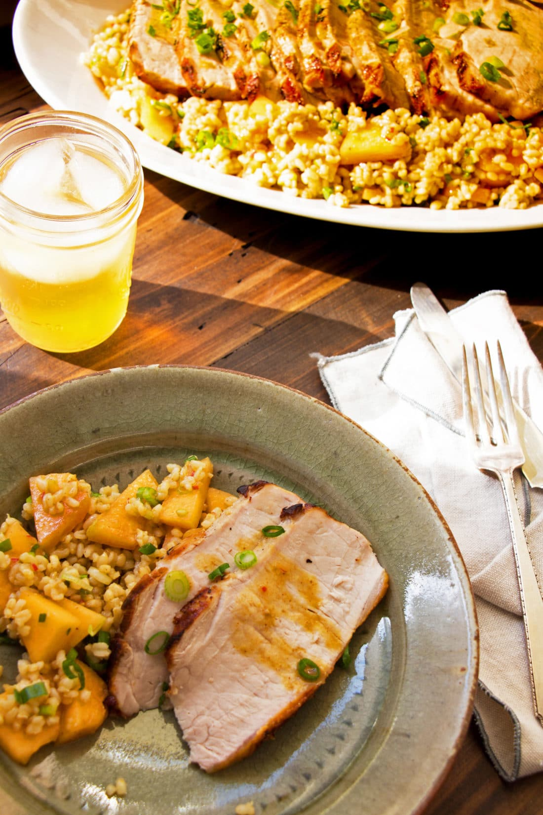 Grilled Pork Loin with Brown Rice Salad / Photo by Mandy Maxwell / Katie Workman / themom100.com