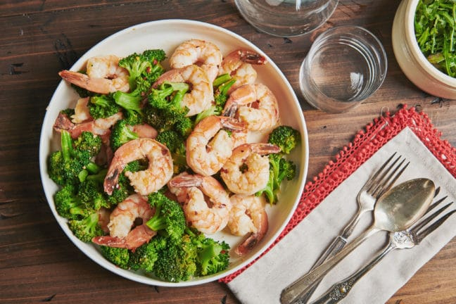 Garlicky Shrimp and Broccoli with Meyer Lemon