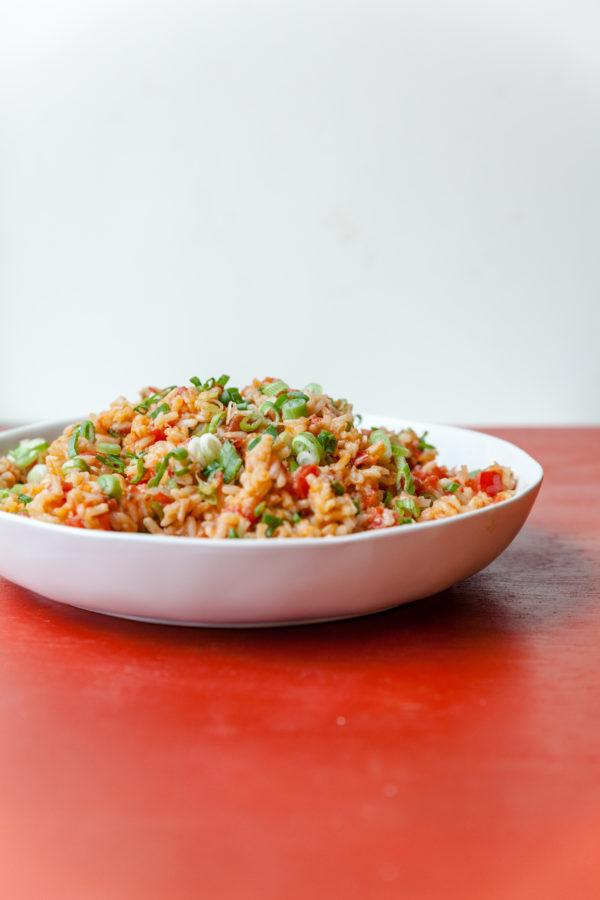 Tomato Scallion Rice / Carrie Crow / Katie Workman / themom100.com