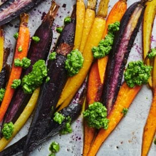 Roasted Carrots with Spinach Parsley Pesto