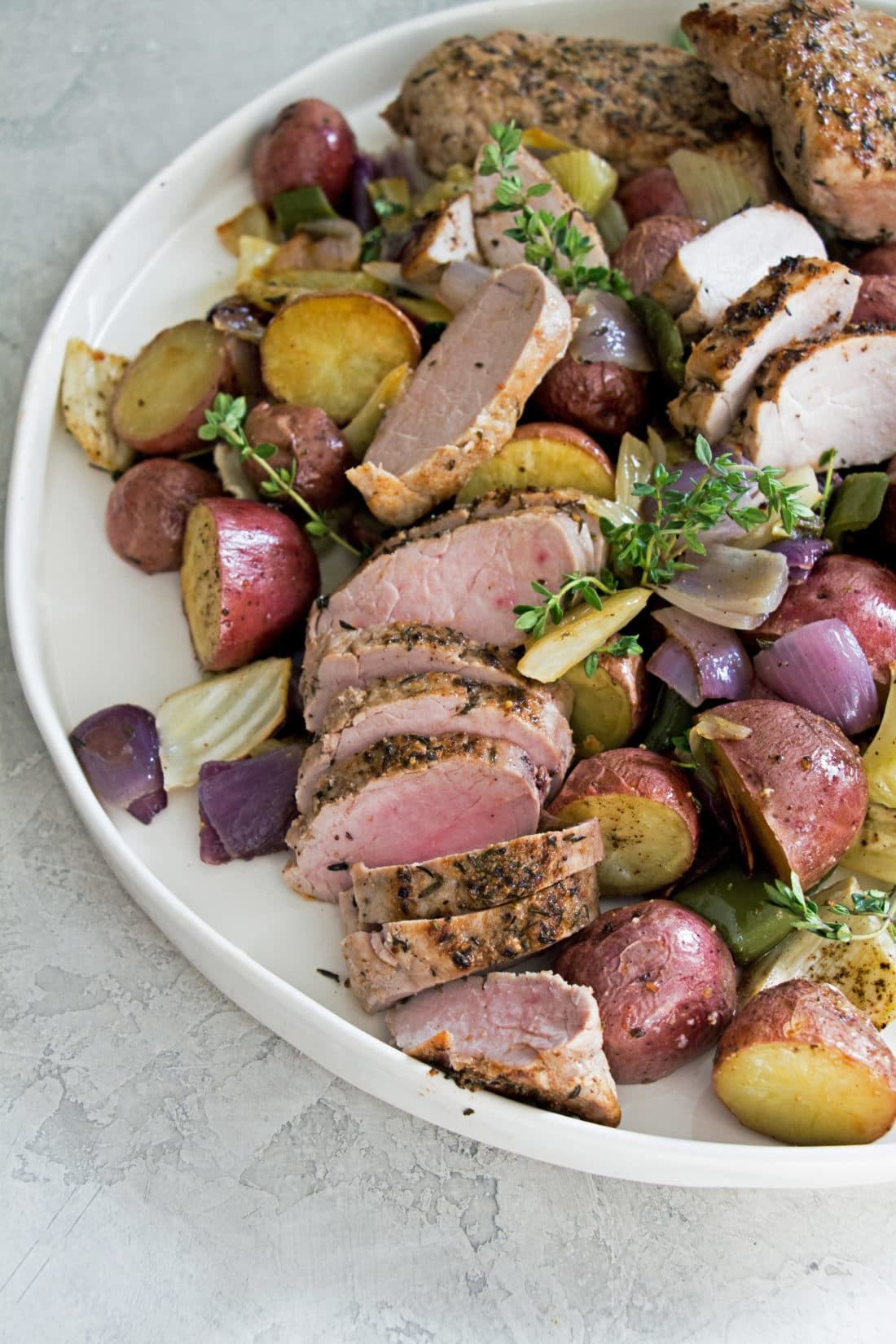 Mediterranean Pork Tenderloin with Roasted Vegetables / Photo by Mandy Maxwell / Katie Workman / themom100.com