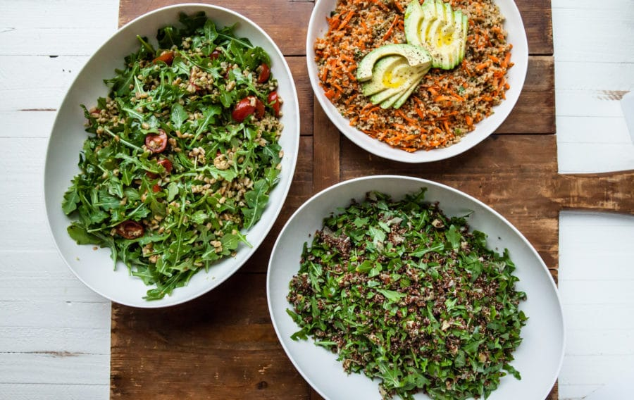 Red Quinoa Salad, Sesame Honey Quinoa, Farro and Arugula Salad Group Shot / Carrie Crow / Katie Workman / themom100.com