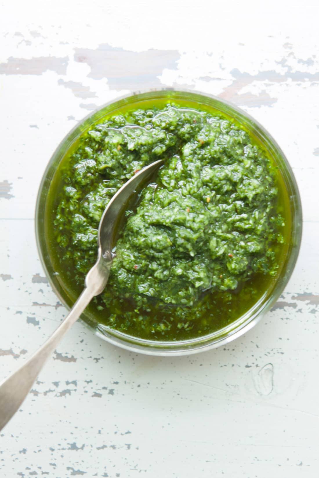 Ramp Chimichurri Sauce / Photo by Kerri Brewer / Katie Workman / themom100.com