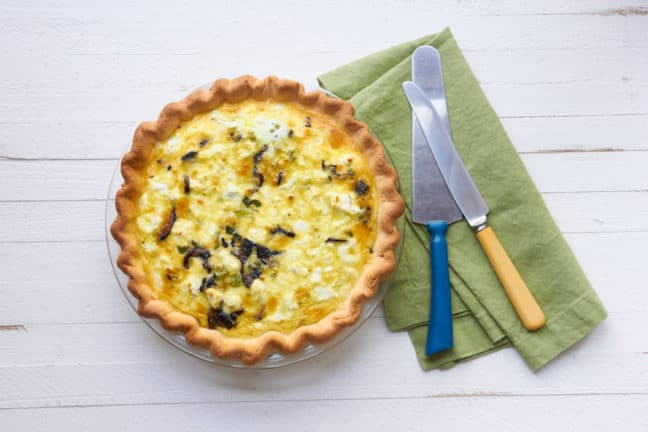 Leek, Mushroom and Goat Cheese Quiche / Mia / Katie Workman / themom100.com