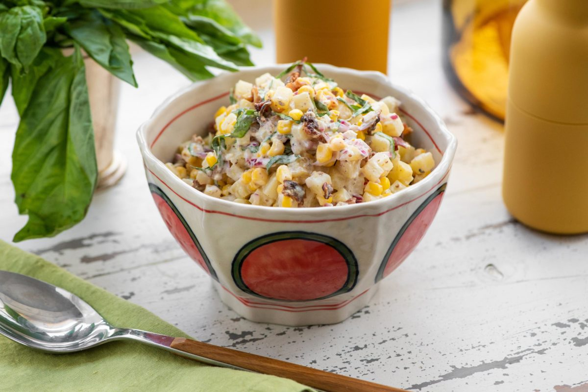Creamy Corn and Potato Salad with Bacon and Lemon Buttermilk Dressing