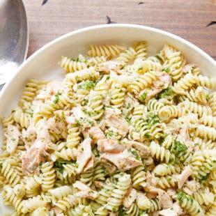 Pasta and Salmon Salad with Ramp Dressing