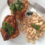 Crusted Loin Lamb Chops with Mint Basil Pesto from Katie Workman/themom100.com