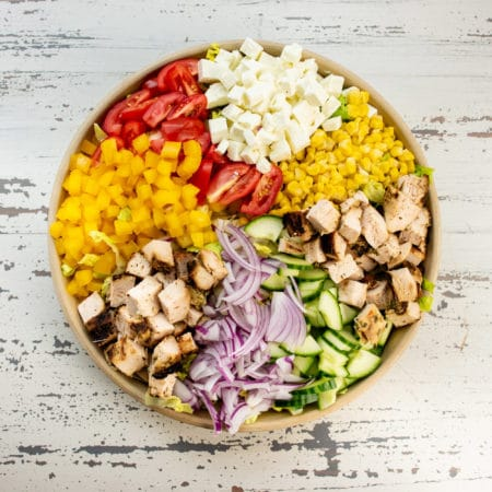 Chopped Salad with Chicken, Tomatoes and Lemon Thyme Dressing / Photo by Cheyenne Cohen / Katie Workman / themom100.com