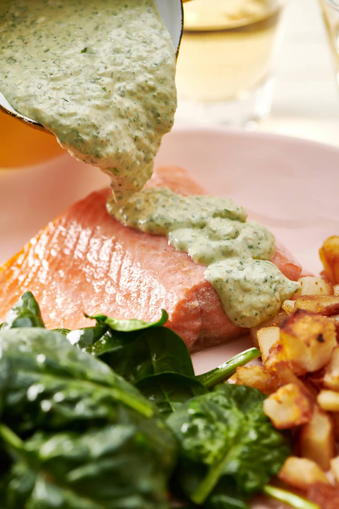 Poached Salmon with Cilantro Sauce