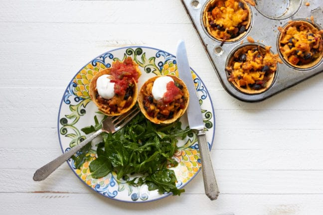 Butternut Squash, Black Bean and Chicken Enchilada Cups / Mia / Katie Workman / themom100.com