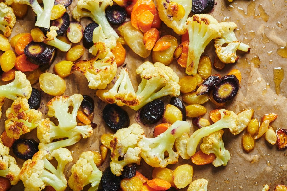 Roasted Cauliflower and Carrots with Olive Drizzle