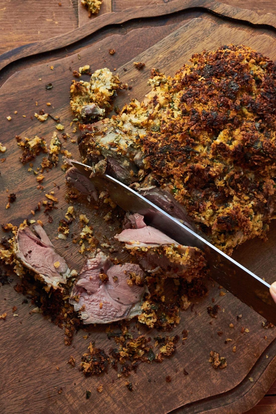 Herbed Boneless Leg of Lamb with Mustard Crust / Mia / Katie Workman / themom100.com