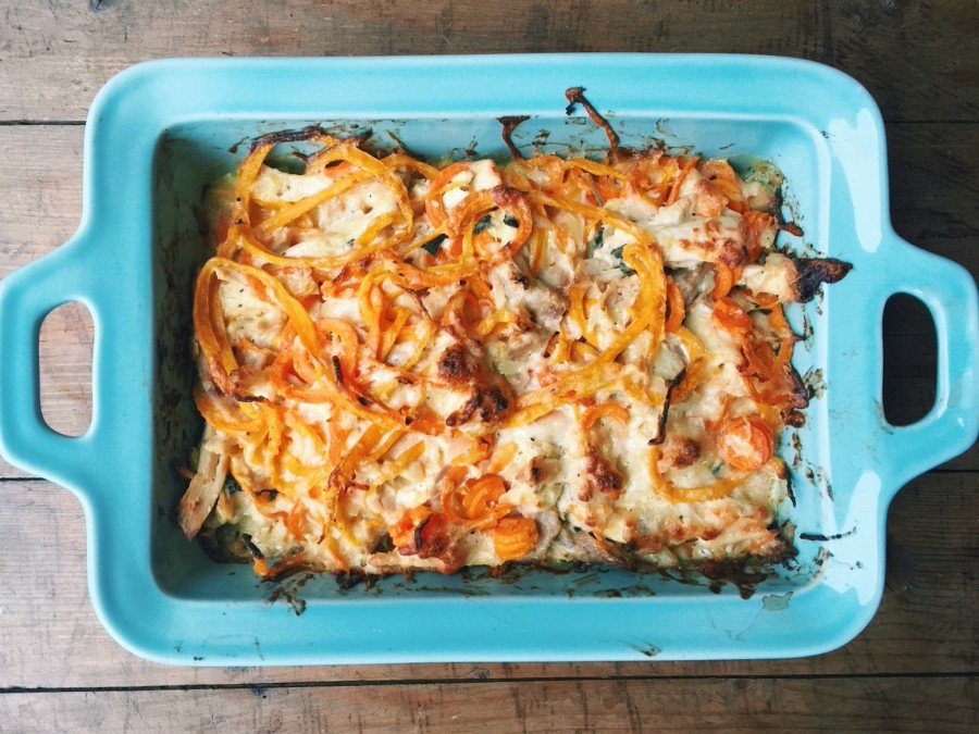 Spiralized Cheesy Butternut Squash and Carrot Casserole with Chicken / Katie Workman themom100.com