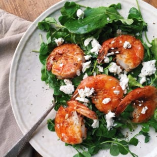 Pea Shoot Salad with Shrimp, Goat Cheese and Citrus Vinaigrette / Katie Workman themom100