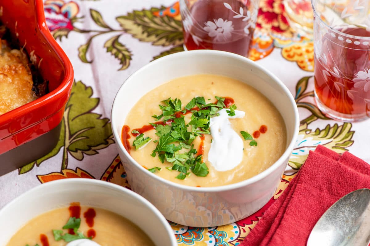 Creamy Rutabaga, Parsnip and Cheddar Soup