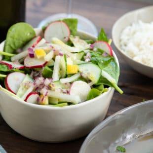Spinach, Radish, and Kohlrabi Salad with Preserved Lemons
