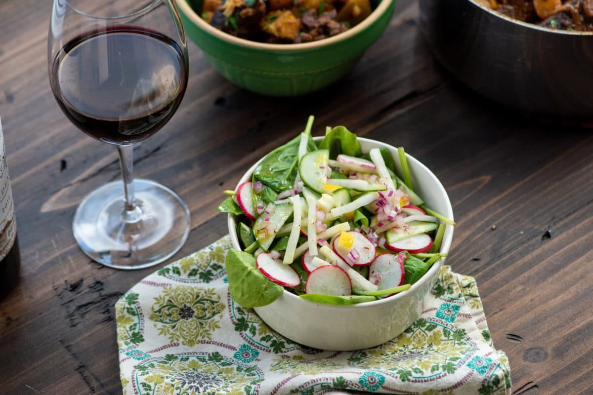Spinach, Radish, and Kohlrabi Salad with Preserved Lemons
