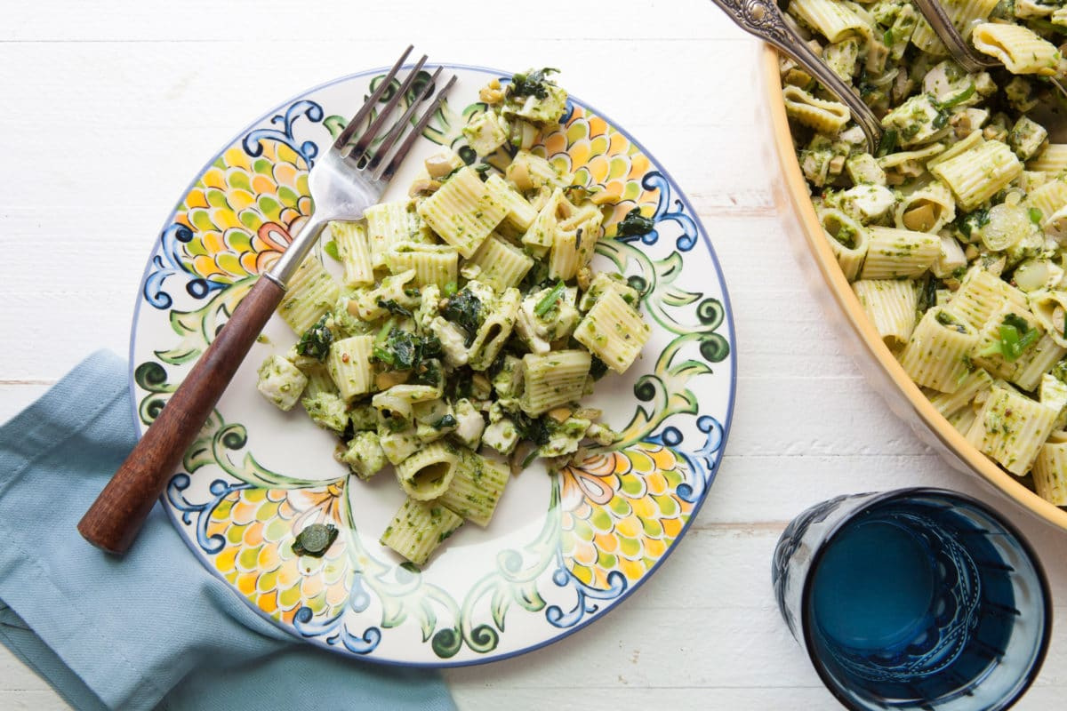 Pasta Salad with Chicken, Green Olives, and Ramp Vinaigrette / Photo by Kerri Brewer / Katie Workman / themom100.com