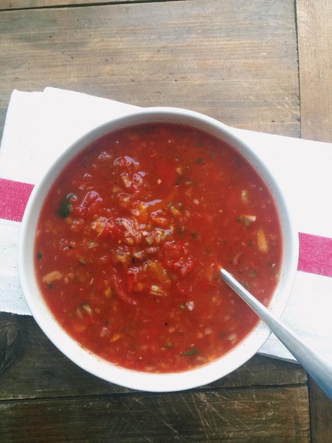 Roasted Tomato Gazpacho / Katie Workman / themom100.com