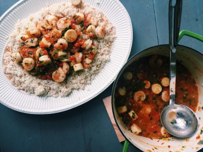Casserole of Shrimp and Hearts of Palm (Camarões com Palmito) / Katie Workman / themom100.com