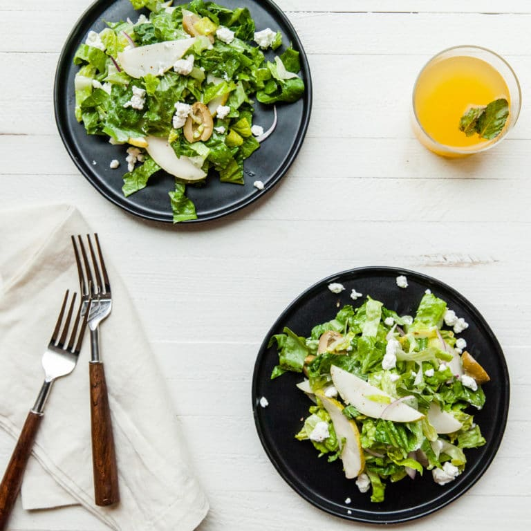 Romaine, Pear and Goat Cheese Salad / Photo by Carrie Crow / Katie Workman / themom100.com