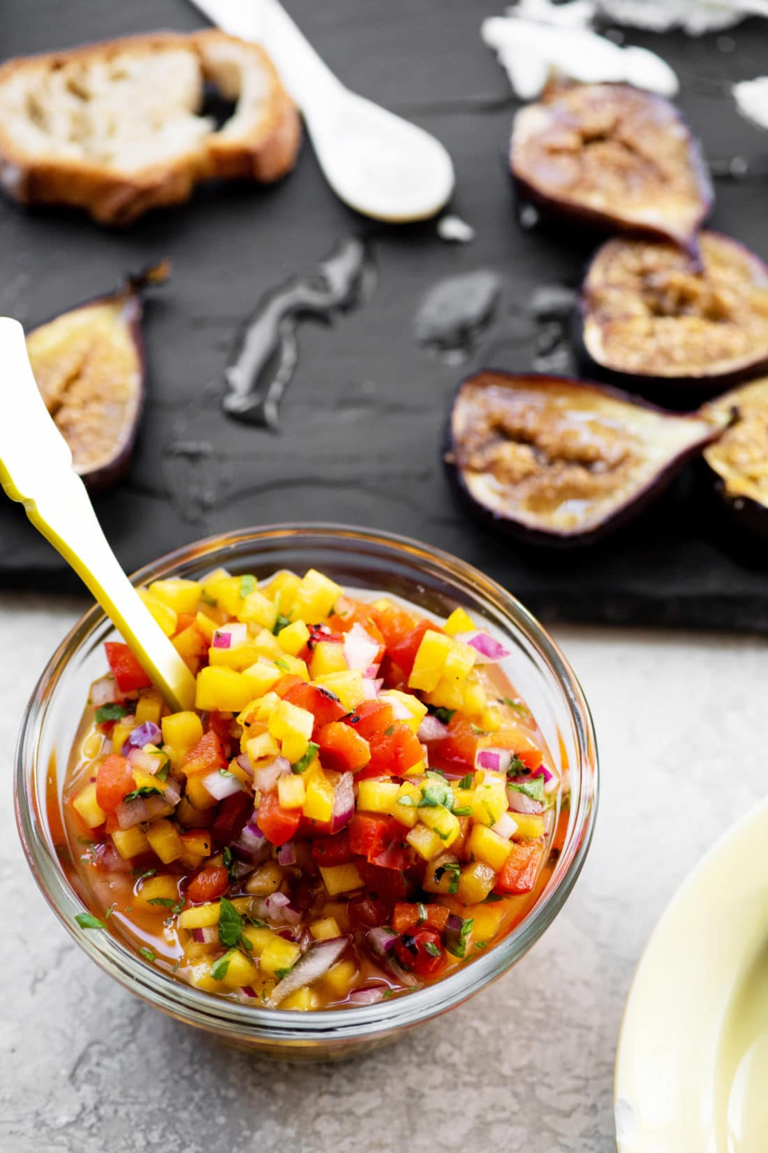 Honey Roasted Figs with Peach and Roasted Red Pepper Salsa / Katie Workman / themom100.com / Photo by Cheyenne Cohen