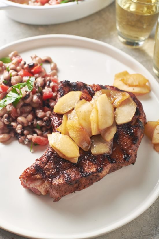 Pork Chops with Apples and Black Eyed Pea Salad