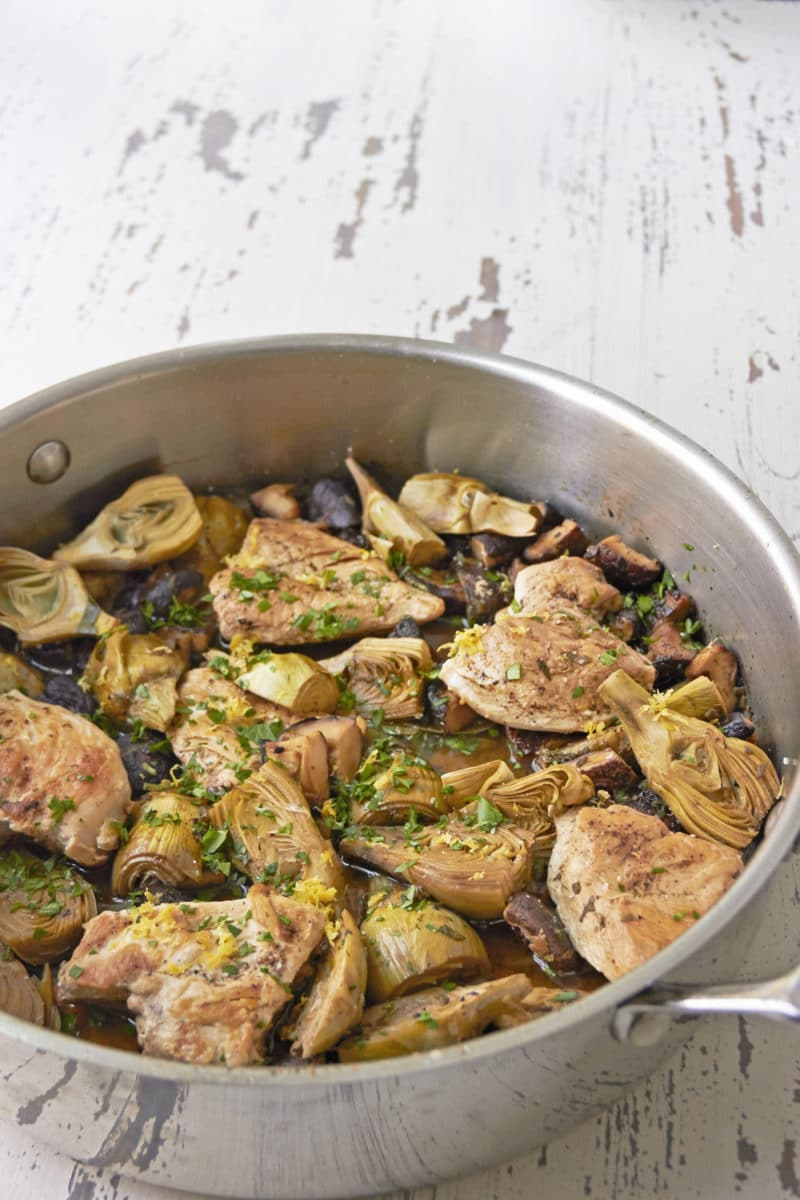 Braised Chicken, Mushrooms and Baby Artichokes / Mia / Katie Workman / themom100.com