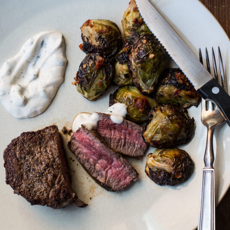 Filet Mignon with Roasted Brussels Sprouts and Lemon-Herb Mayo / Sarah Crowder / Katie Workman / themom100.com