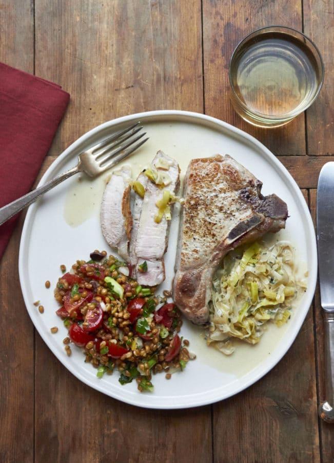 Pan Seared Pork Chops with Madeira and Leek Cream Sauce / Mia / Katie Workman / themom100.com