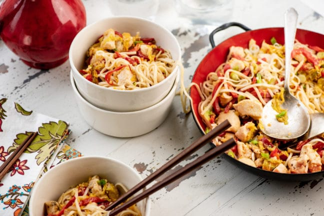 Chicken and Cabbage Stir Fry with Miso Sauce / Photo by Cheyenne Cohen / Katie Workman / themom100.com