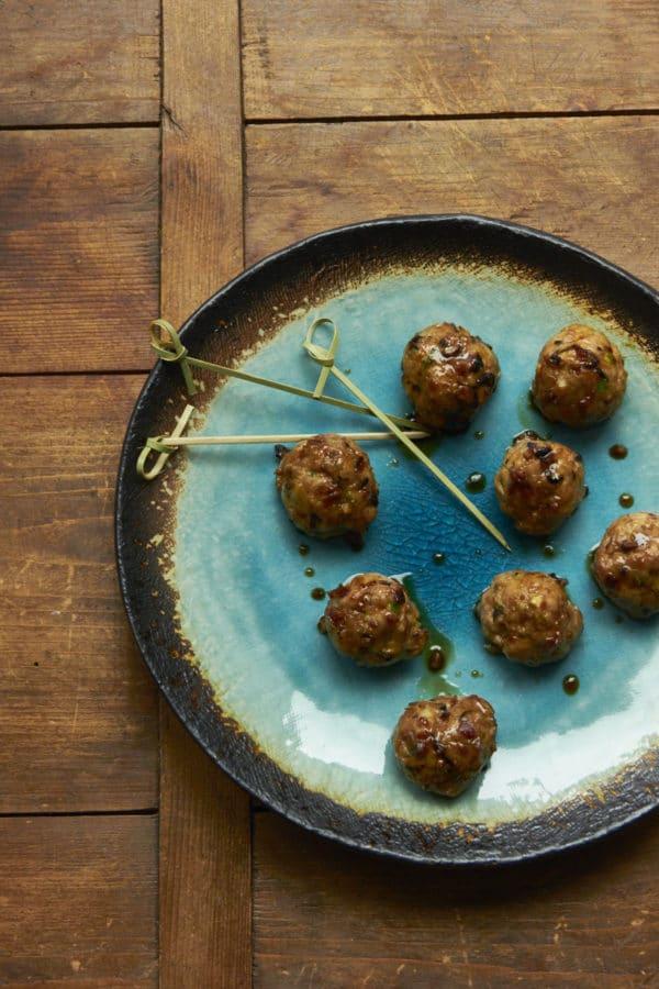Japanese Chicken-Pork-Mushroom Blended Meatballs with Ponzu Glaze for a Crowd / Mia / Katie Workman / themom100.com