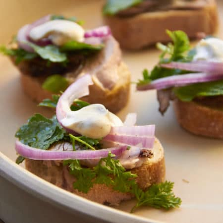Lamb Crostini with Spiced Crème Fraiche and Herbs / Sarah Crowder / Katie Workman / themom100.com